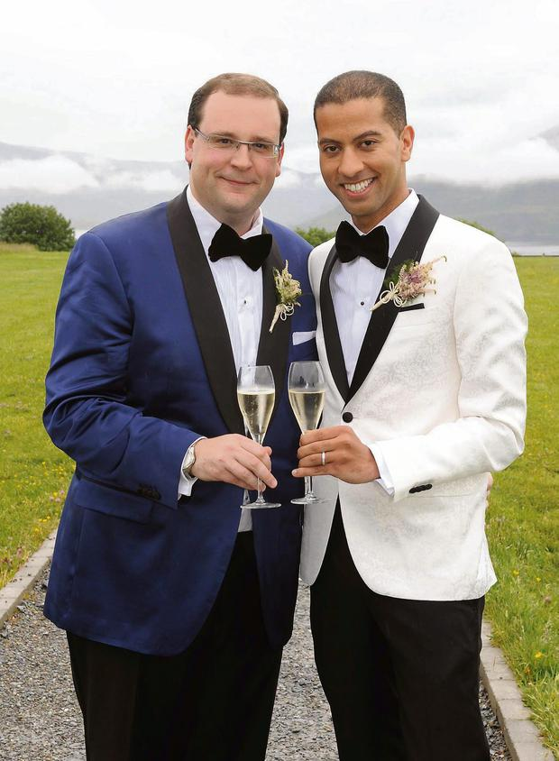 Chris Doyle and Sean Munsanje pictured after their wedding at The Aghadoe Heights Hotel, Killarney on Friday