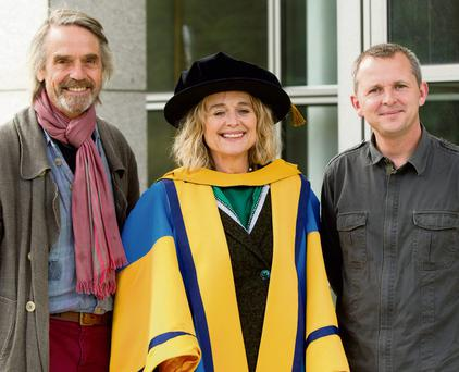 PROUD DAY: From left, Jeremy Irons, Sinead Cusack and Richard Boyd Barrett pictured at UCD, where Sinead received an Honorary Degree of Doctor of Literature.