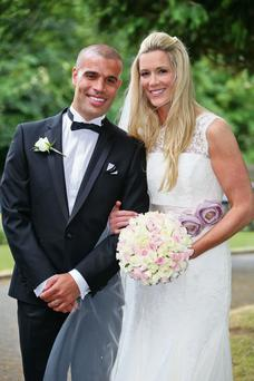Arsenal and Republic of Ireland goalkeeper Emma Byrne at her wedding to former footballer Marcus Bignot; and right, in action for Ireland against the US.