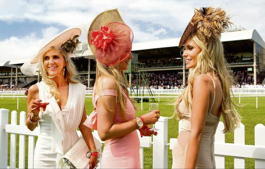 Irish Derby day, Curragh racecourse. Joan Palmer, Lorraine Taylor and Claudine Keane. Photo: Gerry Mooney