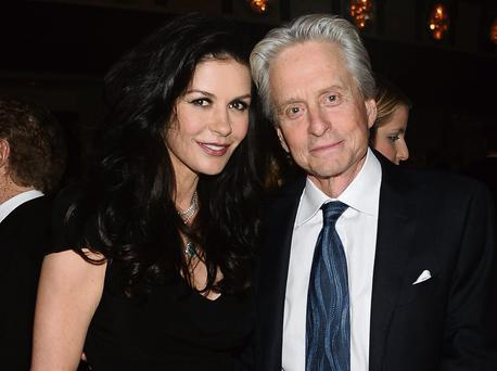 OPENING UP: Actress Catherine Zeta-Jones with her husband, actor Michael Douglas, after his diagnosis of stage four throat cancer.