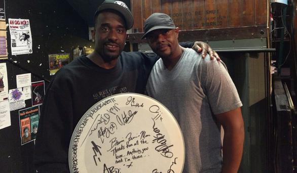 SESSION: Justin Timberlake's drummer Brian Frasier Moore and a bandmate in the Music Maker store on Exchequer Street