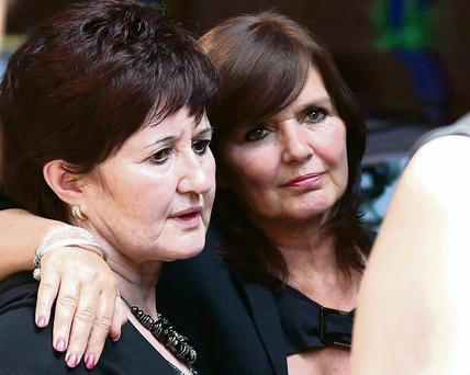 Denise and Maureen Nolan at the funeral of their sister Bernie Nolan at the Grand Theatre in Blackpool