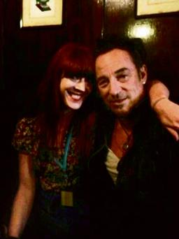 Bruce Springsteen fan Angie Sheehan pictured with her idol in the Long Hall pub in Dublin.