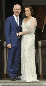 Ray D'Arcy and his bride Jenny Kelly on their wedding day in Tankardstown House, Co Meath.
