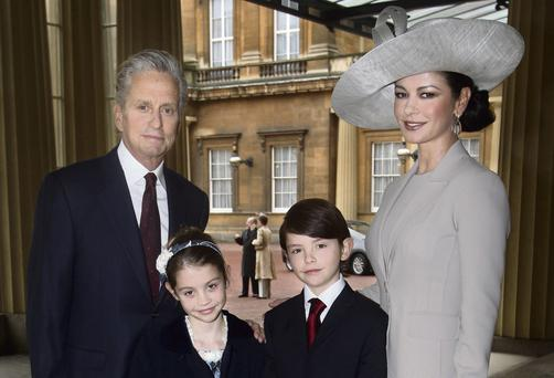 Michael Douglas and Catherine Zeta Jones with their children Dylan and Carys.