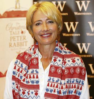 Emma Thompson at the launch of her book, 'The Christmas Tale of Peter Rabbit', in London