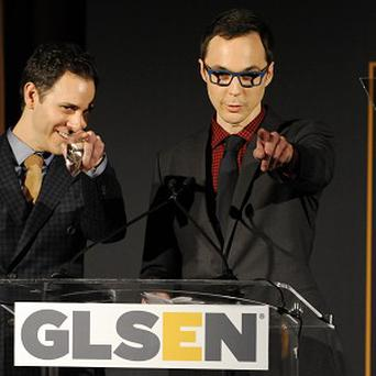 Inspiration Award recipients Jim Parsons, right, and his partner Todd Spiewak (AP)