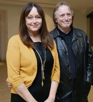 Star-studded: Caroline Erskine and Barry Devlin at the Royal Hibernian Academy launch of Alastair Campbell's book, 'The Irish Diaries'