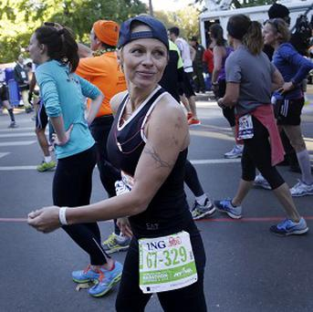 Pamela Anderson completed the New York Marathon in five hours 41 minutes