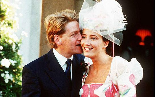 Kenneth Branagh and Emma Thompson pictured on their wedding day on August 20, 1989 in London, England