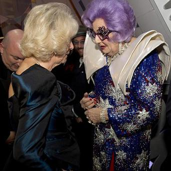 The Duchess of Cornwall with Dame Edna Everage during the Royal Variety Performance