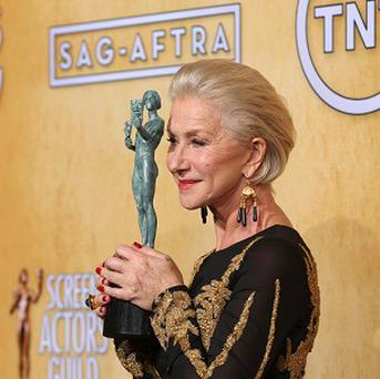 Dame Helen Mirren with her Screen Actors Guild award. (AP)