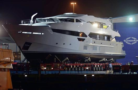 The new super yacht at Poole in Dorset.