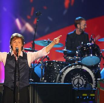 Sir Paul McCartney and Ringo Starr at the Beatles tribute in the US
