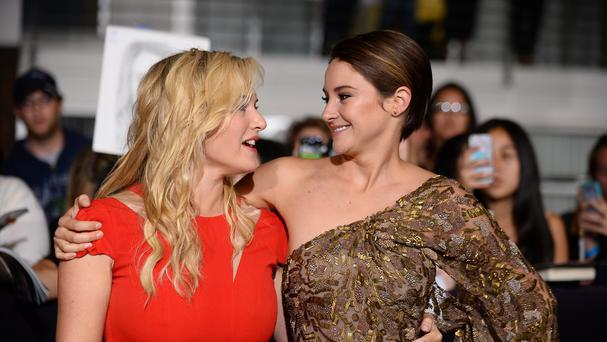 Kate Winslet and Shailene Woodley arrive at the world premiere of Divergent in Los Angeles