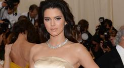 Kendall Jenner at this year's Met Gala in Topshop