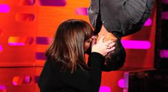 Dawn French kissed Bear Grylls as he hung upside down during filming of the Graham Norton Show