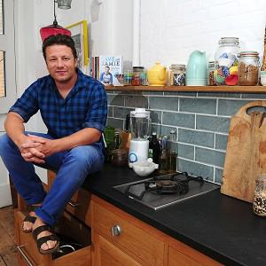 Jamie Oliver tries not to gush about how much he loves his wife