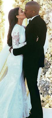 Kim Kardashian and Kanye West at their wedding in Florence, Italy
