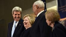 Diplomacy's a funny old business...from left, former US secretaries of state John Kerry, Hillary Clinton, Colin Powell and Madeleine Albright share laughs at the US Diplomacy Centre Pavilion (AP)