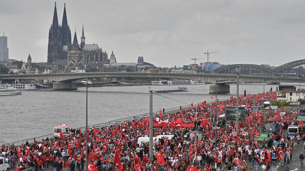 Turkish people participate in a demonstration in Cologne, Germany (AP)