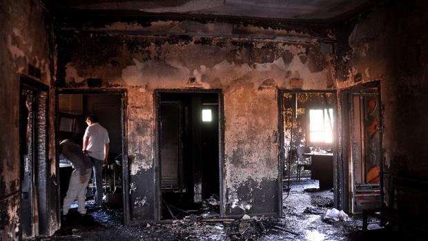 The charred remains of the clinic in Syria. Photo: AFP/Getty