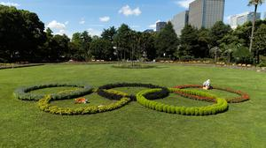 A custodian takes care of plants placed to look like the Olympic rings that local high school students have helped decorate at Hibiya Park in Tokyo. Photo: AP Photo/Hiro Komae