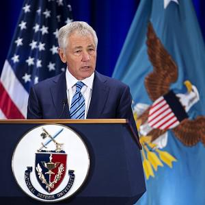 US defence secretary Chuck Hagel speaks at the National Defence University at Fort McNair in Washington (AP)
