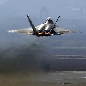 A US F-22 Raptor stealth fighter jet takes off during a military exercise at a US air base in Pyeongtaek, south of Seoul (AP/Bae Jung-hyun, Yonhap)