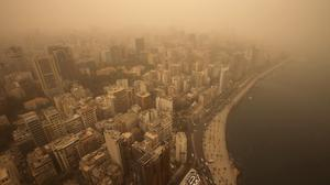 A sandstorm shrouds Lebanon's capital city of Beirut. (AP)