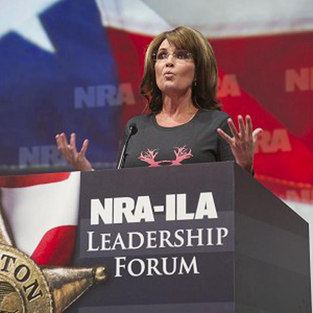 Former Alaska Governor Sarah Palin addresses the National Rifle Association's annual meeting in Houston (AP)
