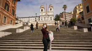 Ghost town: the scene at the Spanish Steps on Thursday. The tourist attraction in Rome is normally bustling with tourists