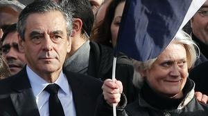 French conservative presidential candidate Francois Fillon with his wife Penelope (Christophe Ena/AP)