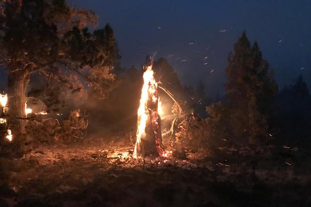The Bootleg Fire burns at night near Highway 34 in southern Oregon (Bootleg Fire Incident Command/AP)