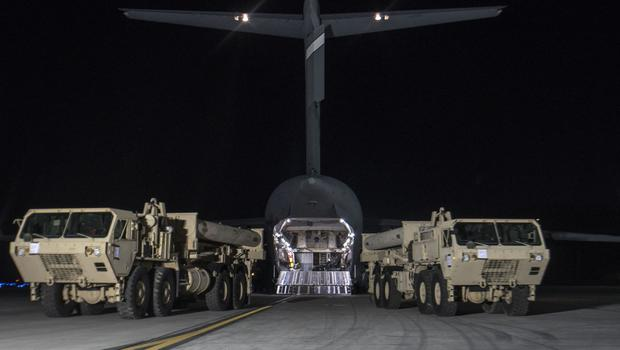 Trucks carrying US missile launchers and other equipment arrive at the Osan air base in Pyeongtaek, South Korea (US Force Korea via AP)
