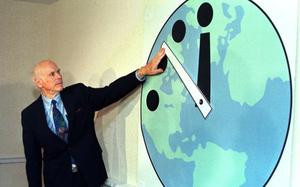 The clock moved closest to midnight in 1953 when the US developed the hydrogen bomb