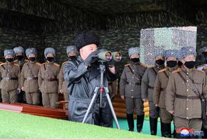 Watching: Kim Jong-un inspects the military drill of units of the Korean People's Army. Photo: Korea News Service via AP