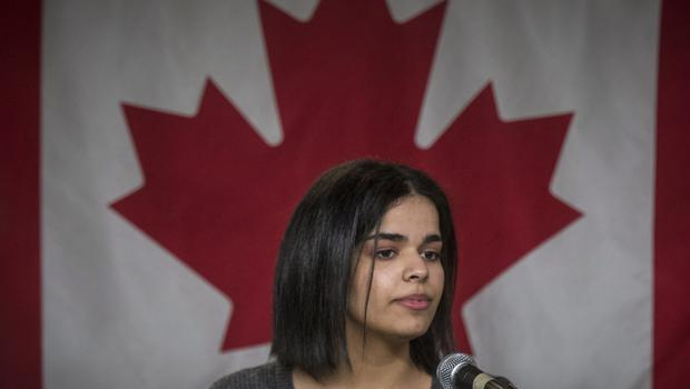 Rahaf Mohammed Alqunun says her first goal is to learn English (Tijana Martin/The Canadian Press via AP)