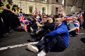 Unionist protesters arrive in George Square at Yes rally as emotions run high during the final day of campaigning for the Scottish referendum