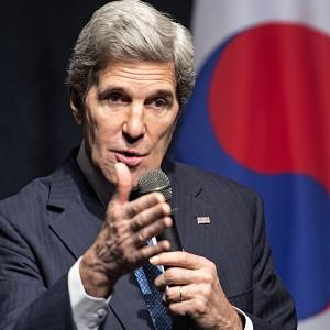 John Kerry delivers remarks to US Embassy staff shortly before leaving Seoul, South Korea (AP/Paul J Richards)