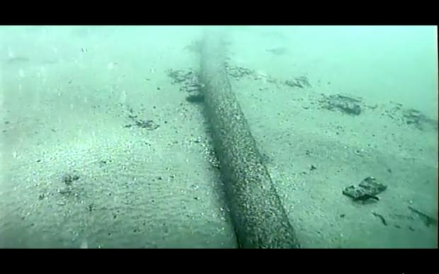 US coast guard footage shows the pipeline that spilled tens of thousands of gallons of oil off the coast of Orange County, California (US coast guard via AP)