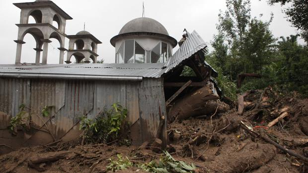 A house destroyed by a mudslide in Xaltepec, on the mountainous north of Puebla state, Mexico (AP)