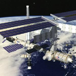 The six-member crew noticed white flakes of ammonia leaking out of the space station (Nasa)