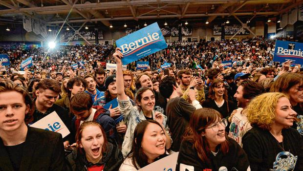 Full house: Bernie Sanders supporters at a rally at the University of New Hampshire in Durham, New Hampshire. Photo: Joseph Prezioso / AFP via Getty Images