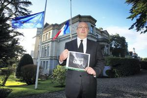 Ambassador of France to Ireland Jean Pierre Thebault following a minutes silence at the French Residence on Aylesbury Road, Dublin. Photo: Gareth Chaney