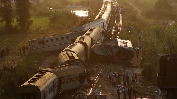 Two trains are seen after they collided just outside Egypt's Mediterranean port city of Alexandria. (AP)
