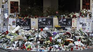 Flowers near the offices of satirical magazine Charlie Hebdo
