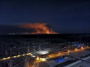 The scene from the roof of the Chernobyl nuclear power plant (Ukrainian Police Press Office/AP)