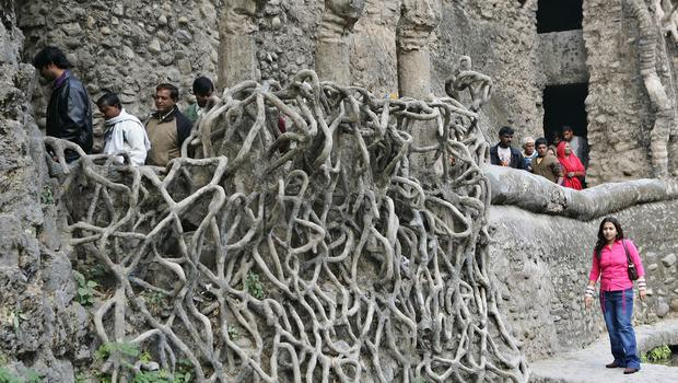 Visitors take a tour of the Rock Garden created by Nek Chand (AP)